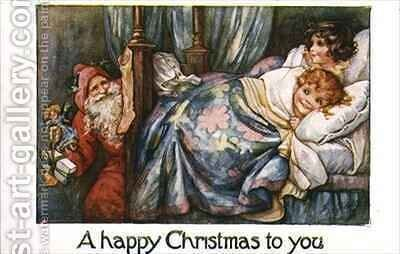 Children in Bed and Father Christmas by A.L. Bowley - Reproduction Oil Painting