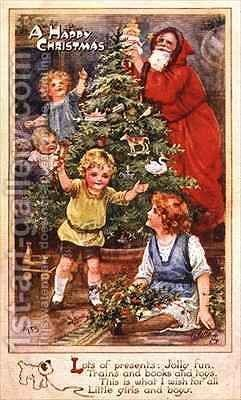 Children with the Christmas Tree by A.L. Bowley - Reproduction Oil Painting