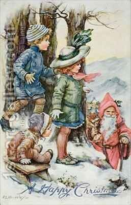Father Christmas and Children in Snow by A.L. Bowley - Reproduction Oil Painting