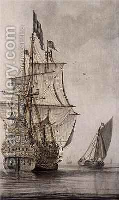 A Man-o'-war under sail seen from the stern with a boeiler nearby by Cornelius Bouwmeester - Reproduction Oil Painting