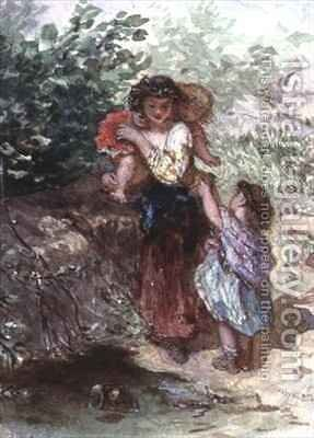 Girl standing with a Child on her Shoulders, another Child by her Side by Augustus Jules Bouvier - Reproduction Oil Painting