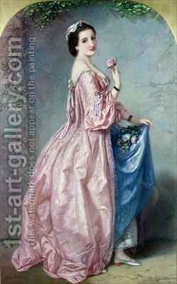 Lady holding Flowers in her Petticoat by Augustus Jules Bouvier - Reproduction Oil Painting