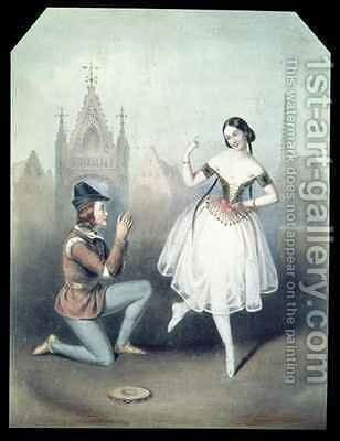 'La Esmeralda' Carlotta Grisi (1819-99) and Jules Perrot (1810-92) by Augustus Jules Bouvier - Reproduction Oil Painting