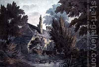 Landscape with house by a pond by James Bourne - Reproduction Oil Painting