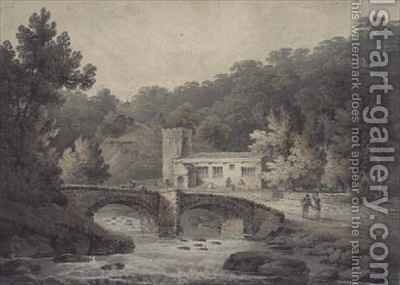 Church and Bridge, Hubberholme, Yorkshire by James Bourne - Reproduction Oil Painting
