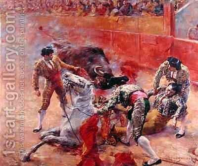 The Picador falling by Claude Charles Bourgonnier - Reproduction Oil Painting