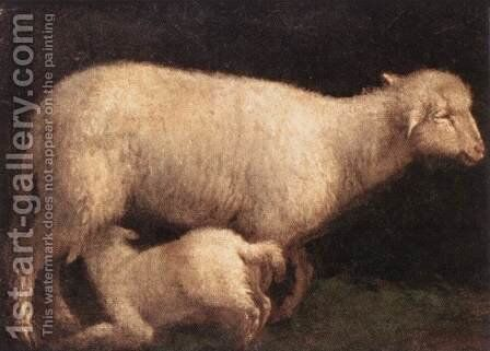 Sheep And Lamb 1560 by Jacopo Bassano (Jacopo da Ponte) - Reproduction Oil Painting