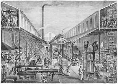Great industries, workshops of construction, sawmill and machine tools at the Arbey Company by (after) Bourdelin, Emile - Reproduction Oil Painting