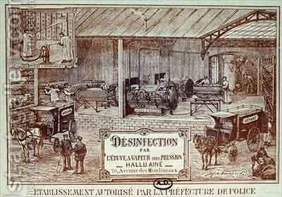 Poster advertising Machinery for Disinfection by Steam produced by Hallu Aine, end nineteenth century by (after) Bourdelin, Emile - Reproduction Oil Painting