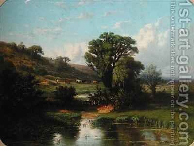 Landscape with a Herd of Cows by Michel Bouquet - Reproduction Oil Painting