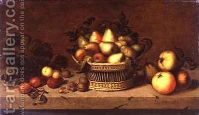 Still Life of Fruit in a Basket by Johann Bouman - Reproduction Oil Painting