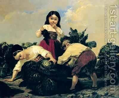 Children Looking Under a Cabbage by Clement Boulanger - Reproduction Oil Painting