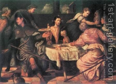 Supper At Emmaus by Jacopo Bassano (Jacopo da Ponte) - Reproduction Oil Painting