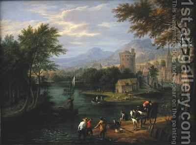 River valley landscape with travellers and fishermen by Boudewyns - Reproduction Oil Painting