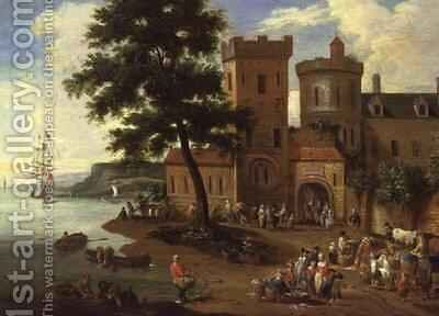 Fisherfolk unloading their catch, and gentlemen departing from a manor house by Boudewyns - Reproduction Oil Painting