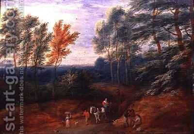 A Wooded Landscape with Travellers in a Haycart by Boudewyns - Reproduction Oil Painting
