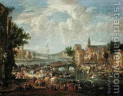 Townsfolk on the Riverbank by Boudewyns - Reproduction Oil Painting