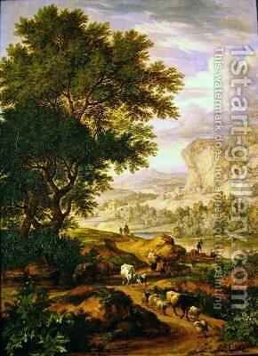 Landscape with livestock by Boudewyns - Reproduction Oil Painting