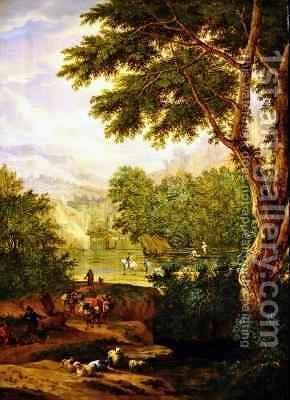 Landscape with travellers by Boudewyns - Reproduction Oil Painting