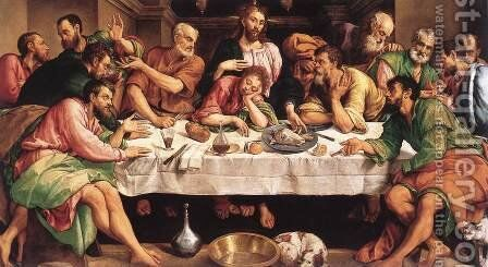 The Last Supper 1542 by Jacopo Bassano (Jacopo da Ponte) - Reproduction Oil Painting