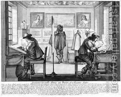 Plate engravers working with gallery behind by Abraham Bosse - Reproduction Oil Painting