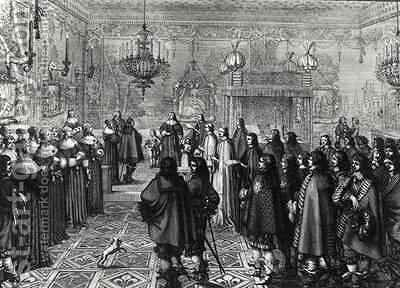 Ceremony passing the marriage contract of Wladyslaw IV (1595-1648) and Maria Ludwiga Gonzaga (1611-67) at Fontainebleau by Abraham Bosse - Reproduction Oil Painting