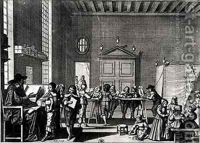 The School Master by Abraham Bosse - Reproduction Oil Painting
