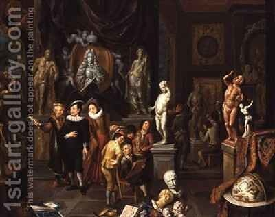 An Elegant Couple Visiting a Sculpture Gallery by Balthasar Van Den Bossche - Reproduction Oil Painting