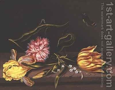 Still Life of Flowers on a Table by Abraham Bosschaert - Reproduction Oil Painting