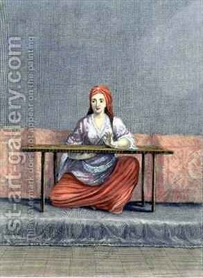 Turkish Woman Embroidering by Claude du Bose - Reproduction Oil Painting