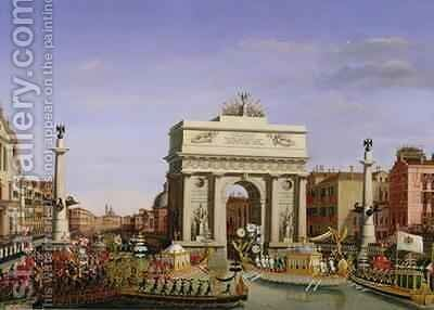 Entry of Napoleon I (1769-1821) into Venice by Giuseppe Borsato - Reproduction Oil Painting