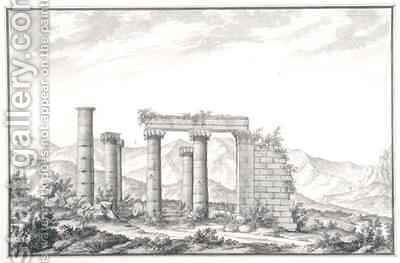 View of the ruins of an Ionic temple at Sardis, probably the Temple of Neptune by Giovanni Battista (Giambattista) Borra - Reproduction Oil Painting