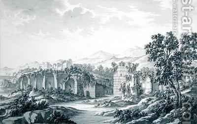 View of the Ruined Baths at Hadrian's Villa at Tivoli by Giovanni Battista (Giambattista) Borra - Reproduction Oil Painting
