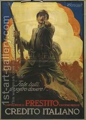 Italian advertisement for war bonds by Mario Borgoni - Reproduction Oil Painting