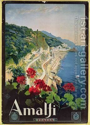 Poster advertising the Amalfi Coast by Mario Borgoni - Reproduction Oil Painting