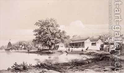 Mandarin's House on the Macao-Canton Canal by (after) Borget, Auguste - Reproduction Oil Painting