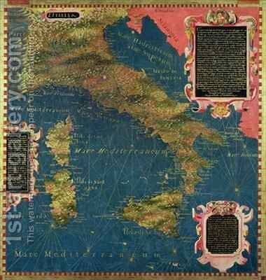 Map of Sixteenth Century Italy by Egnazio Stefano and Danti Bonsignori - Reproduction Oil Painting