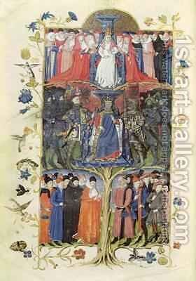 The Tree of Battles, King Charles VII (1403-61) between the Dauphin, future Louis XI (1423-83) on his right and on his left, Arthur, Count of Richmond, Constable of France (1425-58) and Duke of Brittany (1457-58) by Honore Bonnet - Reproduction Oil Painting