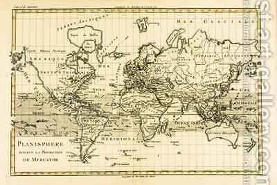 Map of the World using the Mercator Projection by Charles Marie Rigobert Bonne - Reproduction Oil Painting