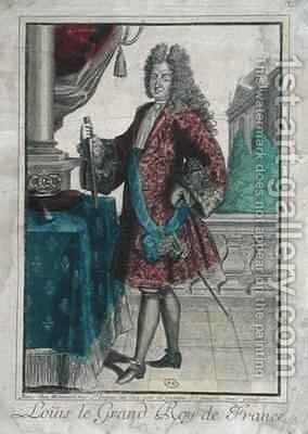 Louis XIV (1638-1715) King of France by Jean Baptiste Bonnart - Reproduction Oil Painting