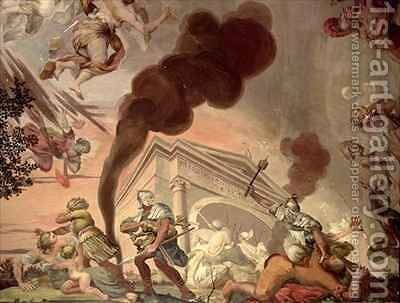The Triumph of Peace Over War, detail of soldiers looting a temple, from the ceiling of the main hall by Anton Agelo Bonifazi - Reproduction Oil Painting