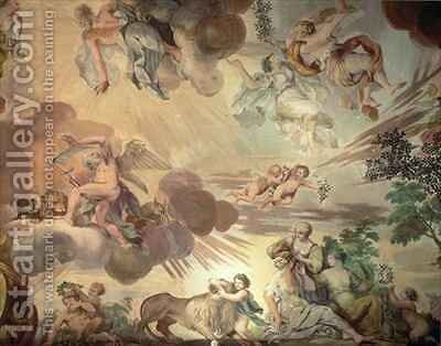 The Triumph of Peace Over War, detail of the heavens, from the ceiling of the main hall by Anton Agelo Bonifazi - Reproduction Oil Painting
