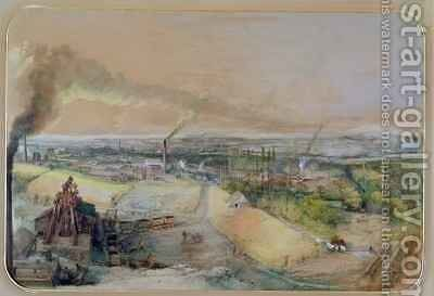 Industrial landscape in the Blanzy coal field, Saone-et-Loire 2 by Ignace Francois Bonhomme - Reproduction Oil Painting