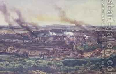 Factories at Le Creusot in 1848 by Ignace Francois Bonhomme - Reproduction Oil Painting