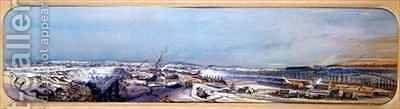 Industrial landscape in the Blanzy coal field under snow, Saone-et-Loire by Ignace Francois Bonhomme - Reproduction Oil Painting