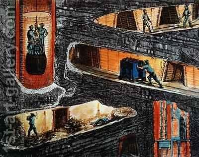 Cross-section of a Coal Mine by (after) Bonhomme, Ignace Francois - Reproduction Oil Painting