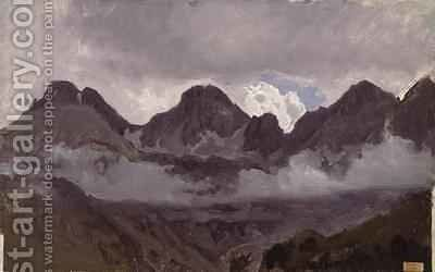 Mountains with Mist by Auguste Bonheur - Reproduction Oil Painting