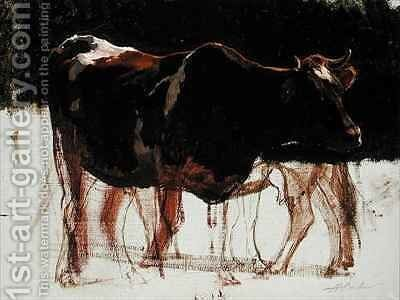 Study of Cattle by Auguste Bonheur - Reproduction Oil Painting