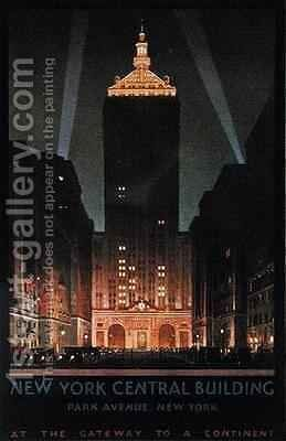 New York Central Building by Chesley Bonestell - Reproduction Oil Painting