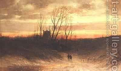 A wooded landscape at evening by Carl Bondel - Reproduction Oil Painting
